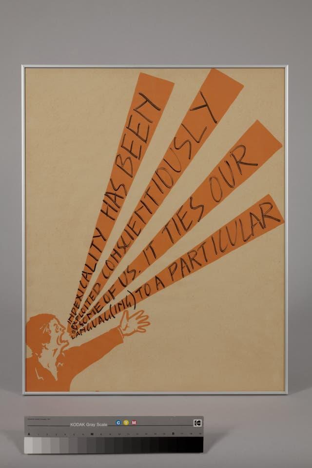 Shouting Men: Serigrafía y pluma de fieltro sobre papel, ejemplo de arte político, 1975