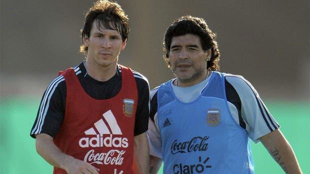 Maradona y Messi, cuando Diego era el entreandor de la selección Argentina