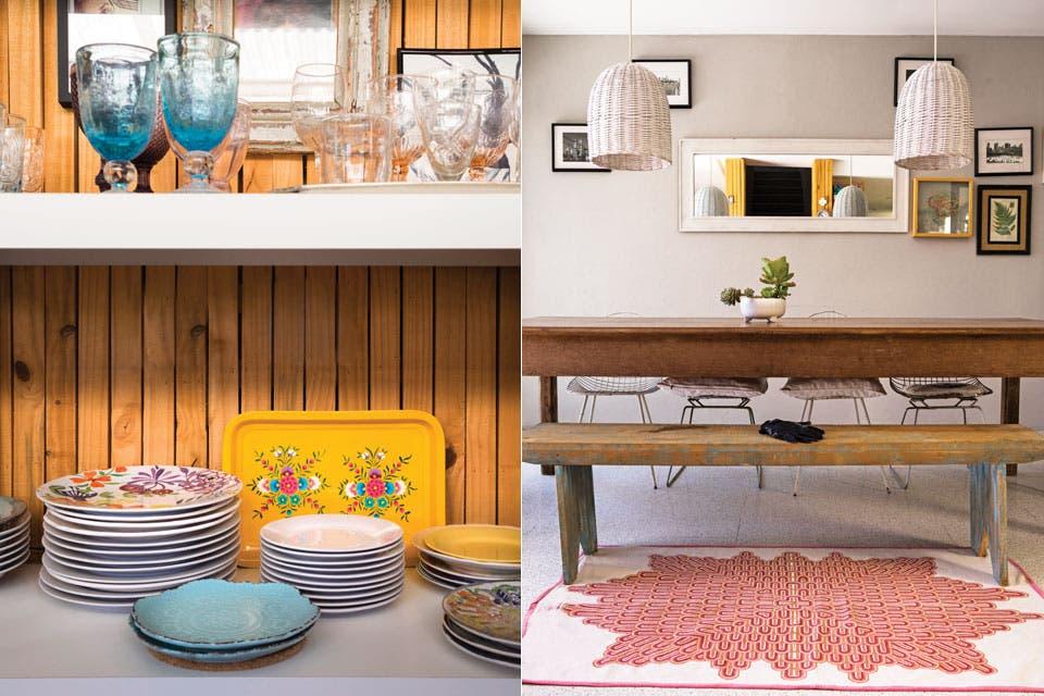 De frente a la cocina, mesa de comedor y banco de madera, sillas 'Bertoia' y pantallas de mimbre (Puerto de Frutos) pintadas.  Foto:Living /Celeste Najt