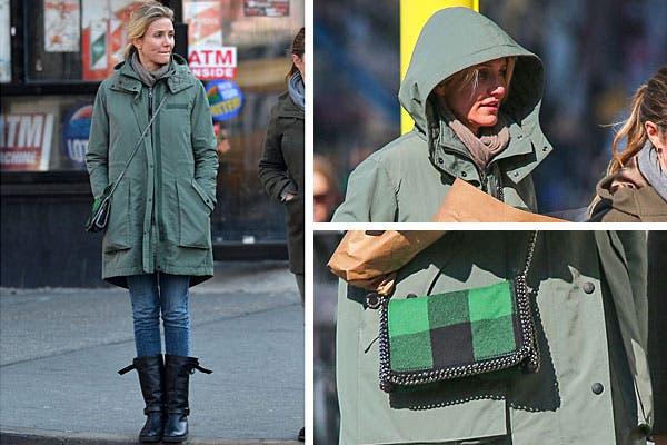 Tonos verdes para Cameron Díaz. De compras, con una campera verde militar, jeans y botas. El detalle, en la carterita. Foto: Celebritieswonder.net