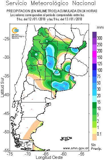 Precipitaciones acumuladas entre las 9 del viernes y las 9 del sábado