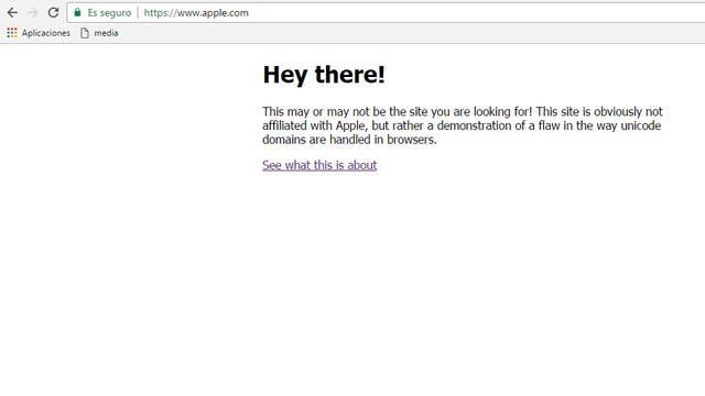 El sitio de prueba creado por Xudong Zheng; la dirección dice www.apple.com, pero es sólo una apariencia