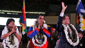 Evo Morales, Nicolás Maduro y Rafael Correa