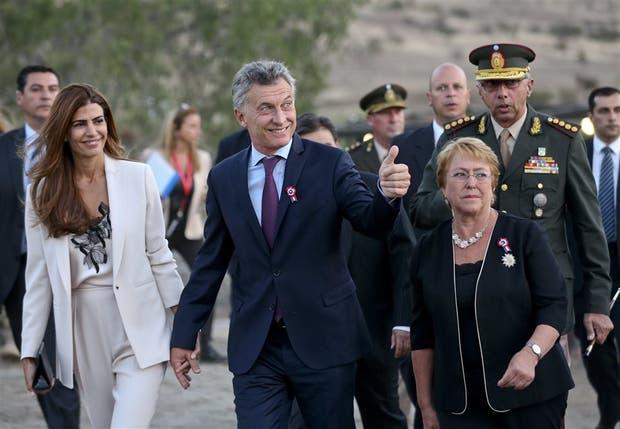 El presidente Macri durante la visita que realizó a Chile durante el fin de semana último junto con su par, Bachelet
