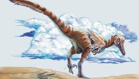 Reconstrucción artística de un dinosaurio raptor sudamericano
