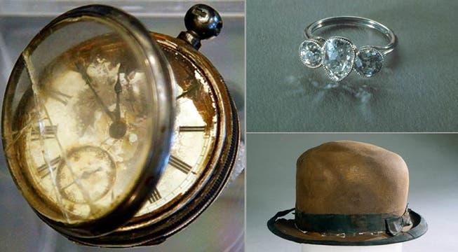El reloj del pasajero de tercera clase William Henry Allen, un anillo y un sombrero recuperados tras una expedición. Foto: AP
