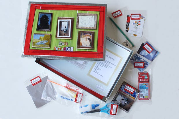 LA YAPA (para gastar un poquito más):kit de Arte en caja de chapa de zinc (C-leBuat, $300). La caja guarda un taller con galería de Arte en su interior y es un primer escalón para que los niños aprendan a expresarse y apreciar lúdicamente el lenguaje artístico.