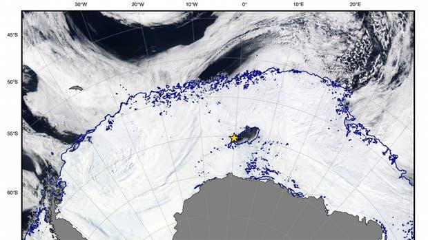 La imagen satelital es del 25 de septiembre; el agujero tiene 80.000 kilómetros cuadrados