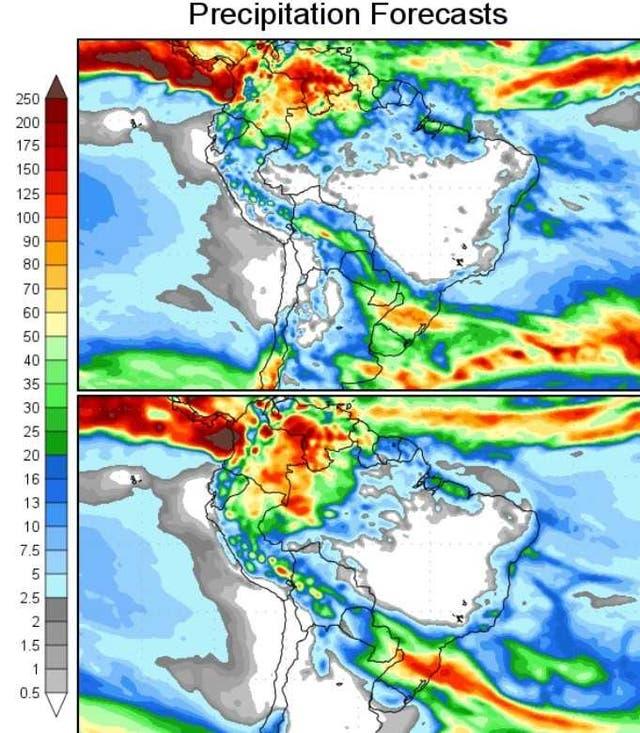Precipitaciones hasta el domingo 13 de agosto (primer mapa) y lluvias hasta el lunes 21 (segundo mapa)