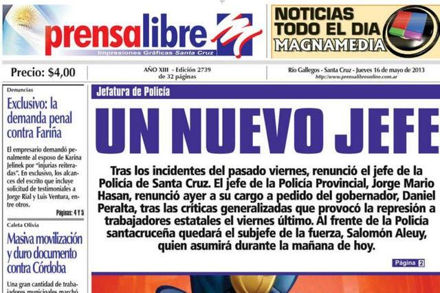 La tapa del diario Prensa Libre de hoy, donde Báez publicó su denuncia contra Fariña