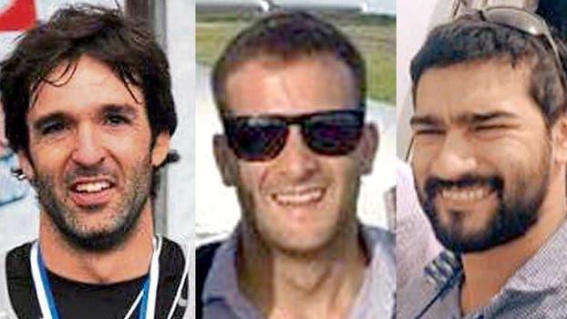 Estos tres hombres viajaban en el avión encontrado hoy. Foto: Archivo
