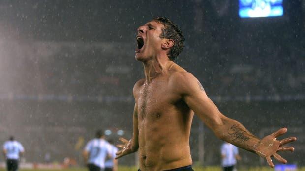 Así celebró Palermo su gol ante Perú