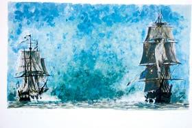 Combate naval. Una obra de Héctor Meana