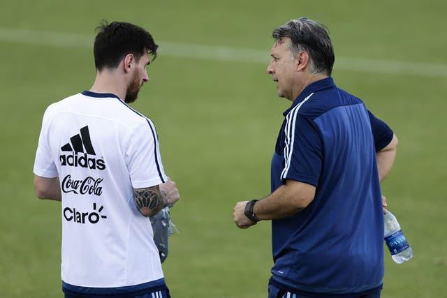 Messi y Martino, durante la Copa América