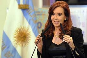 Cristina Kirchner, en un acto en el Salón de las Mujeres Argentinas en Casa Rosada