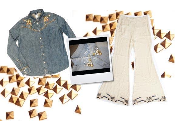 Camisa de jean con bordados, Levi''s. Pantalón blanco tipo palazzo, María Cher.