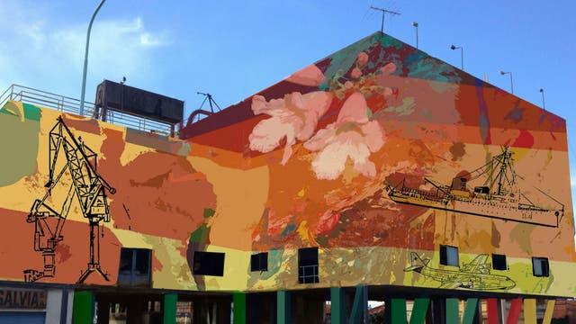 Las referencias al puerto, en la vista oeste del mural
