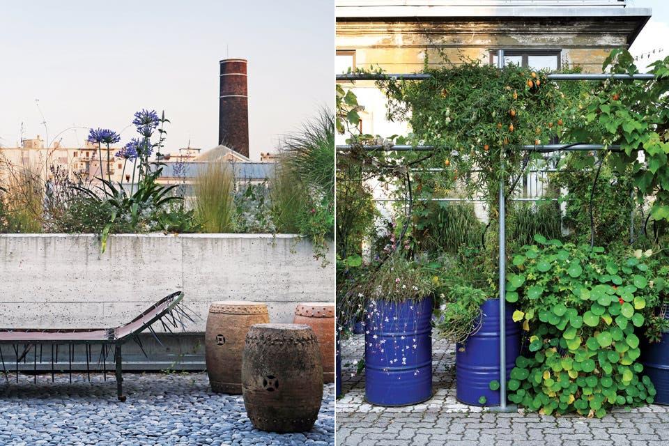 A la izquierda, detalle de la entrada a la casa, con un simpático jardín de rastreras y trepadoras que nacen de tambores de aceite azules. Lo hizo con ayuda del paisajista Stefano Baccari (nadie dijo que silvestre fuera equivalente a irreflexivo). A la derecha, terraza moderna con vista al pasado fa.  /Enrico Conti