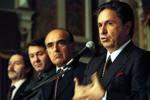 Duhalde, Ruckauf y Felipe Solá, tres de los cinco gobernadores del PJ. Foto: Archivo