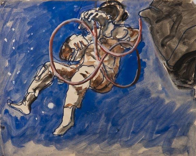 Sin título (Apolo 15), c. 1972-73, pintura sobre papel