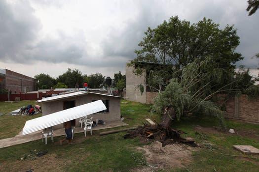 Generó daños en viviendas de la zona, además de la voladura de árboles, ramas, chapas, marquesinas y hasta el vuelco de un automóvil. Foto: LA NACION / Ricardo Pristupluk