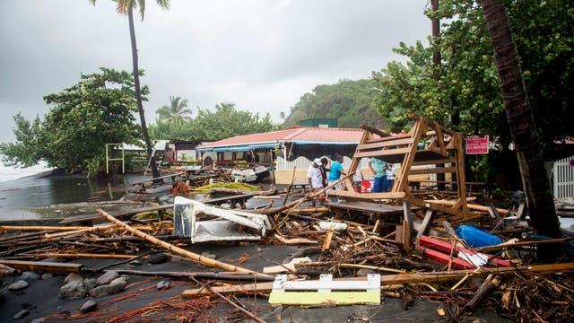 Los escombros en un restaurante en Le Carbet, en la isla caribeña francesa de Martinica, después de ser golpeada por el huracán María