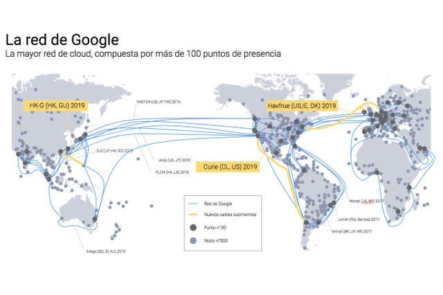 Google tenderá cable submarino entre Chile y California