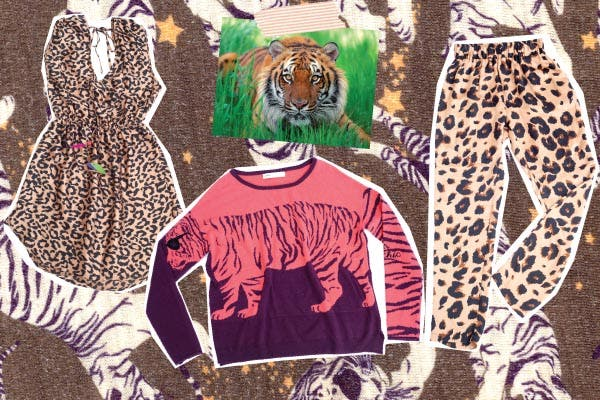 Vestido con corte en la cintura, Rapsodia. Sweater con estampa de tigre, Uma. Baggy pants de leopardo, Rapsodia.