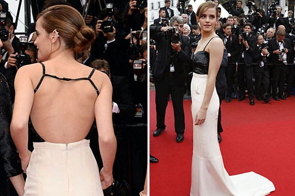 Espalda descubierta y tiras finitas para Emma Watson. Foto: Celebritieswonder.net / AFP