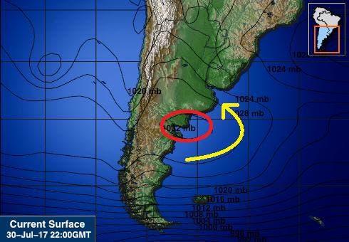 Carta de superficie mostrando como el centro de baja presión nos someterá a viento sudeste y como ejerce un vector de fuerza que empuja al río hacia adentro del estuario