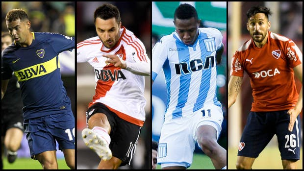 Edwin Cardona, Ignacio Scocco, Andrés Ibargüen y Jonás Gutiérrez