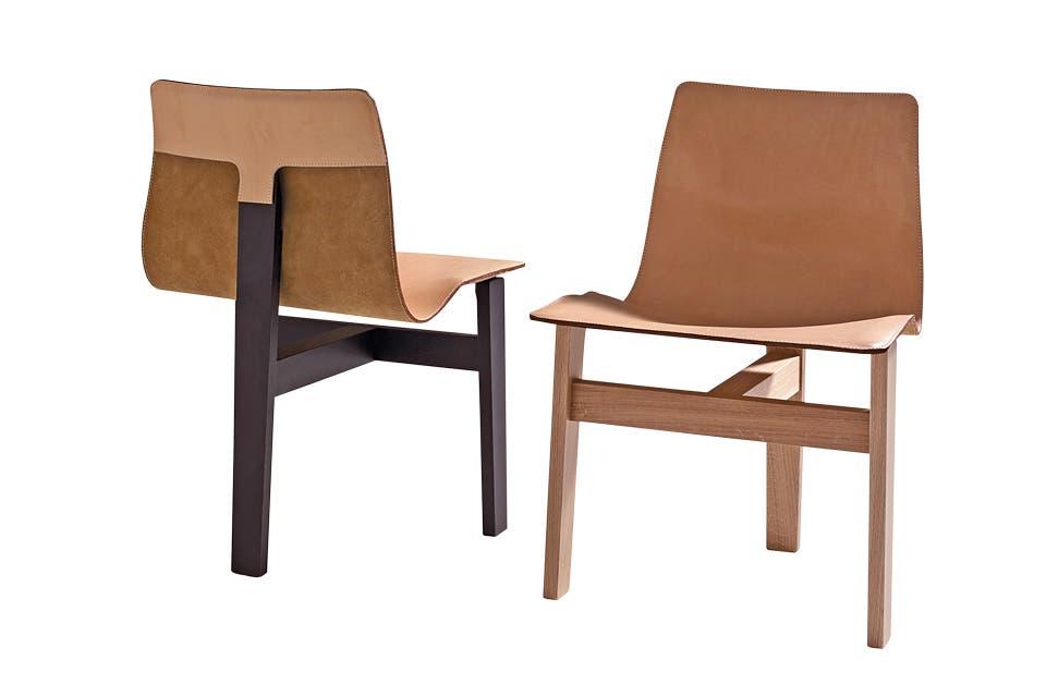 En cuero, la silla con tres patas de Angelo Mangiarotti fue seleccionada para The Visit y se lució en el salón de Agapecasa .