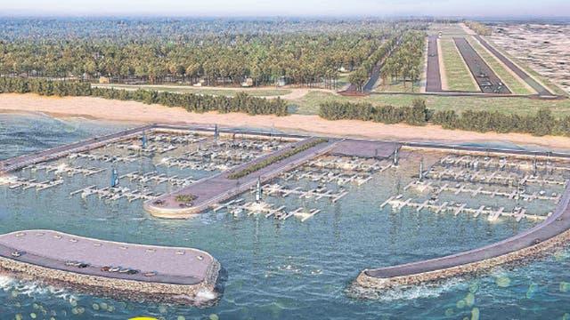 Una vista de las marinas y de la pista de aterrizaje del complejo