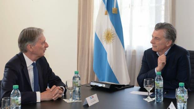Hammond y Macri, ayer, en Olivos