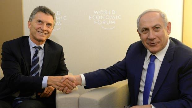 Mauricio Macri y Benjamín Netanyahu en el Foro Económico Mundial en el 2016