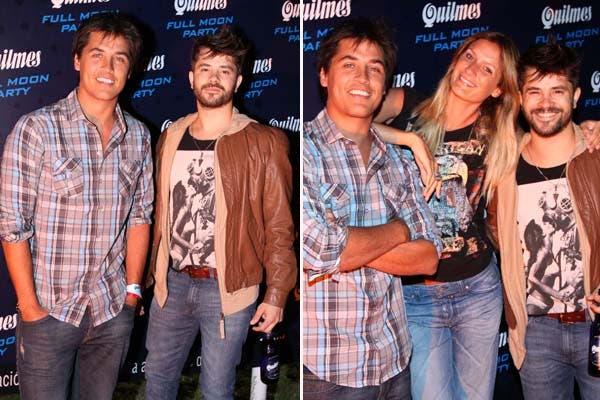 Felipe Colombo se motró muy divertido en Full Moon Party, la fiesta que hizo Quilmes en Pinamar. Lo acompañan Coco Maggio y Carola Kirby. Foto: Gentileza Alurralde Jasper
