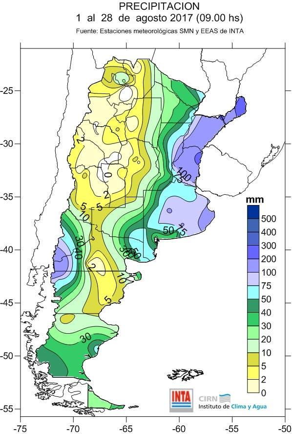 Las lluvias acumuladas en agosto de 2017