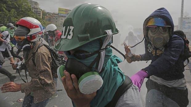 Incidentes en una marcha, ayer, en Caracas