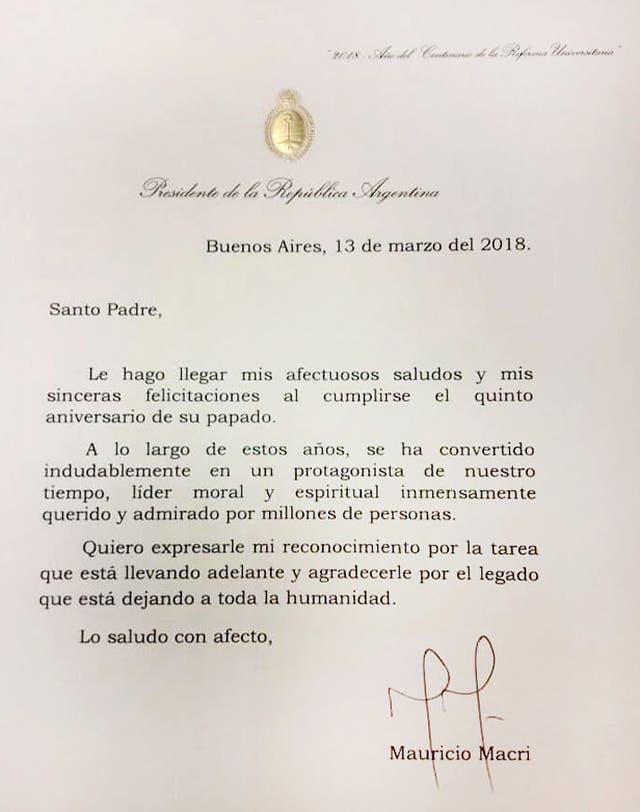 La carta que el Presidente le envió al Papa