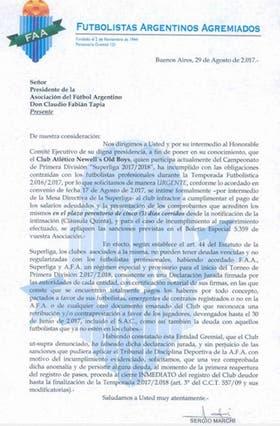La carta que FAA le envió a la AFA
