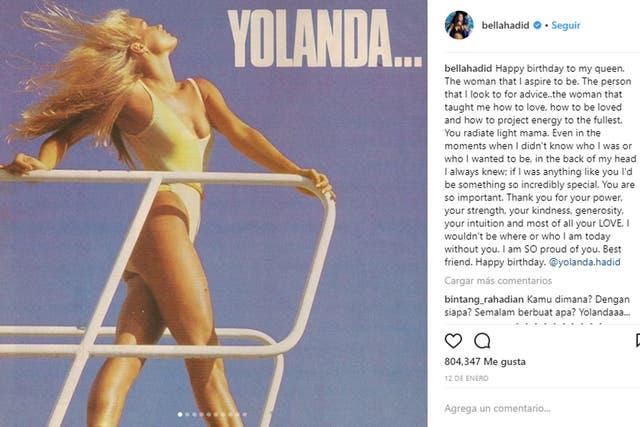 Yolanda Hadid a finales de los 80, la madre de Gigi y Bella trabajó como modelo para la agencia Ford