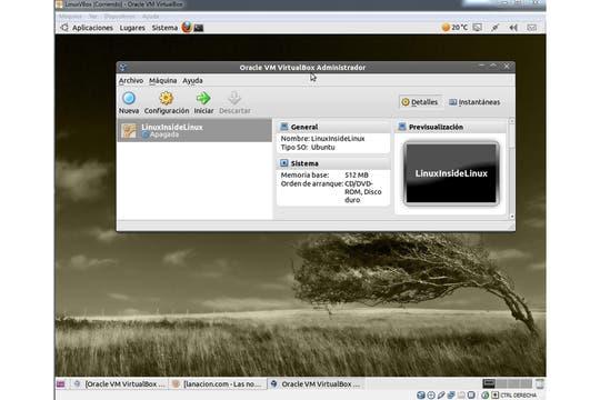 VirtualBox en un Linux virtualizado. Foto: LA NACION / Ariel Torres