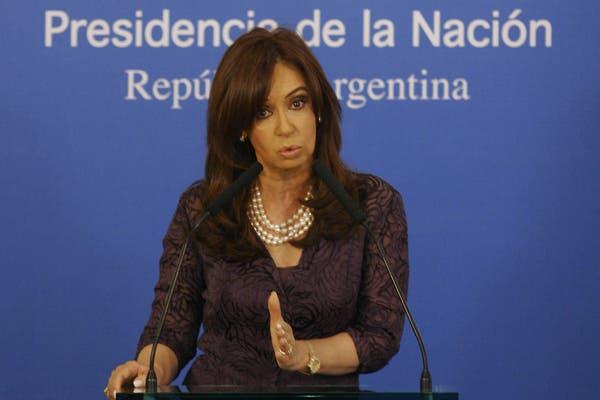 Cristina Fernández de Kirchner en el Salón Sur de la Casa Rosada
