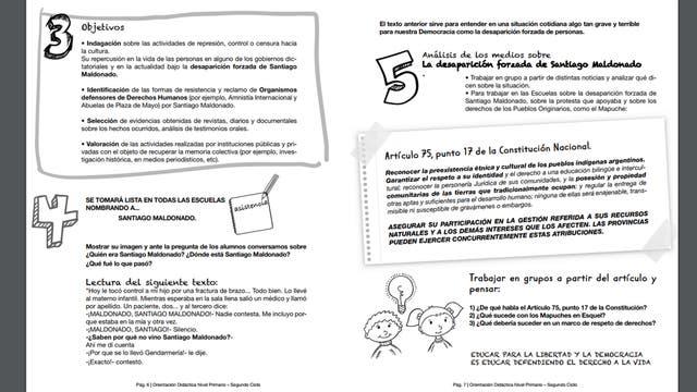 Parte del instructivo para alumnos de Nivel Primario