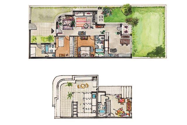 Las dos plantas: abajo, el living, comedor, cocina y dormitorios. Arriba, el estudio de Carolina y la terraza, en mínimo desnivel y retirada de la calle