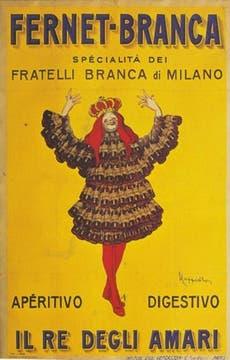 Realizado por Leonetto Cappiello, este afiche de 1922 es uno de los más famosos. Representa a una especie de ¿rey? con traje hecho de botellas.. Foto: Gentileza Branca