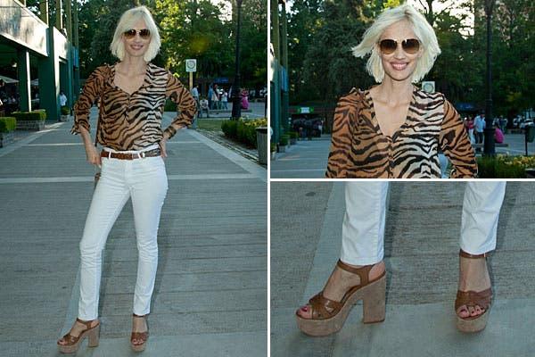 En el Abierto de polo, Ingrid Grudke apostó por el animal print con una camisa con transparencias, jeans blancos y sandalias de cuero. Foto: PH: underline