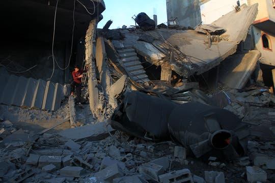 Casas y edificios totalmente destruido luego de los ataques. Foto: AFP