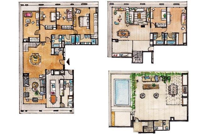 Planta baja, primer piso y terraza