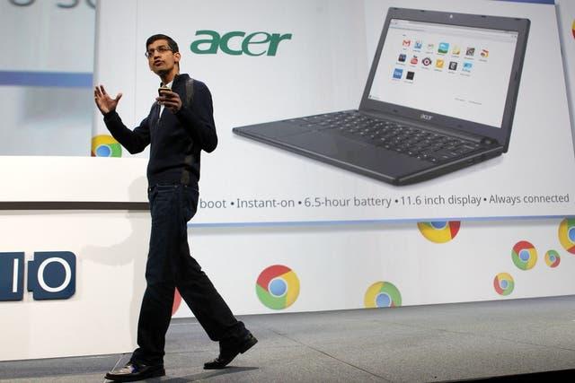 Sundar Pichai, responsable de desarrollo de Chrome, durante la presentación de las computadoras que utiliza al navegador como parte principal del sistema operativo basado en la Web